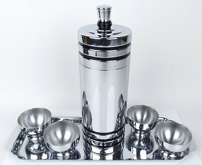 VintageArt Deco Chase Chrome Cocktail Shaker w/ Four (4) Cups