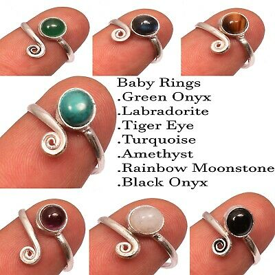 Moonstone 1pcs Ring 925 Sterling Silver Plated Adjustable Baby Ring,Small Rings