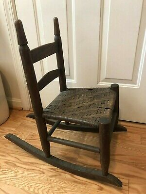 CHILDS KIDS DOLL VINTAGE ANTIQUE ROCKING CHAIR Rocker Woven Seat