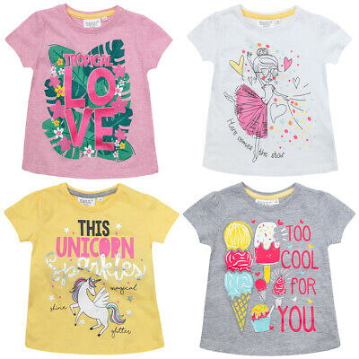 MINIKIDZ Infant Girls Printed T-Shirts Cotton Rich Summer Tops Ages 2 Up To 6
