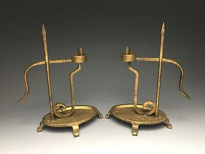Pair Of Old Gold Paint Cast & Wrought Iron Rush Light Candle Holder Chamberstick