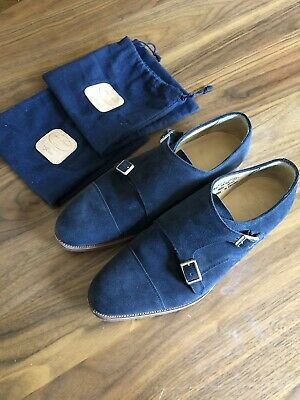 c39424ed534f7 Alfred Sargent for J.Crew suede double monk strap shoes Navy Blue Sz 11  Preowned