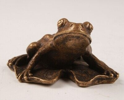 Chinese Bronze Hand Casting Frog Figurines Statue Auspicious Gift Collection