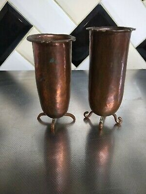 2 HEAVY Antique  Hammered Copper Arts & Crafts Vases OTHER USES