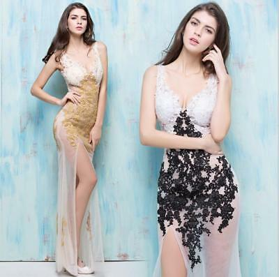 Womens Sexy Deep V Floral Lace Mesh Sleeveless Slit Evening Long Dress Party
