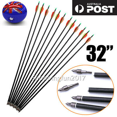 "12PCS 32"" Fiberglass Arrows 15-80LB Screw Nocks Compound Bow Topseller NEW"