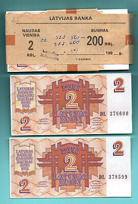 LATVIA 2 Rublis Sequential LOT OF 97 Paper Money UNC Currency P- p36 1992s 147