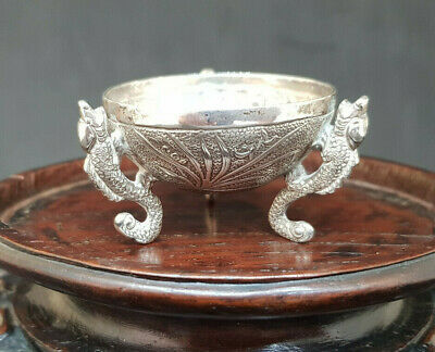 Antique Beautiful Chinese Export Solid Silver Bowl Sea Horse Legs