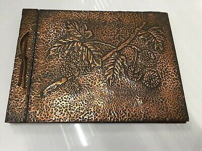 Vintage Antique Arts & Crafts Hammered Copper Scrapbook Photo Album UNUSED