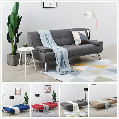 NEW 3 Seater Sofa Bed 7 Colours Modern luxury Fabric Sofa Bed Cushions Recliner