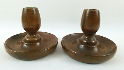 Pair of Small Vintage Solid Oak Candlesticks with brass inserts - Dinner Table -