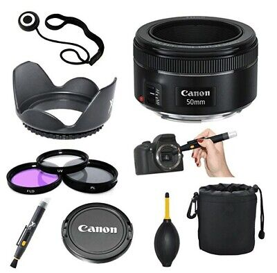 Canon EF 50mm f/1.8 STM + 3pc Filter Kit + Lens Pen + Blower + Pouch + Others