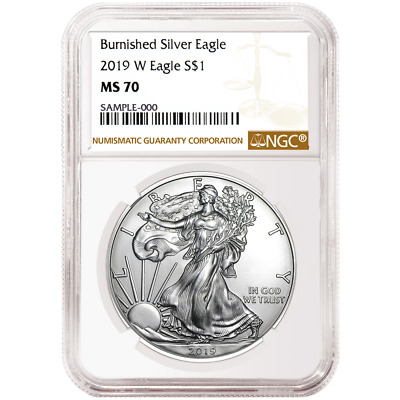 2019-W Burnished $1 American Silver Eagle NGC MS70 Brown Label