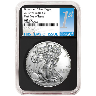 2019-W Burnished $1 American Silver Eagle NGC MS70 FDI First Label Retro Core