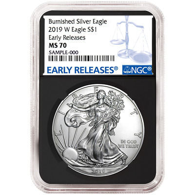 2019-W Burnished $1 American Silver Eagle NGC MS70 Blue ER Label Retro Core