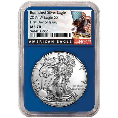 2019-W Burnished $1 American Silver Eagle NGC MS70 FDI Black Label Blue Core
