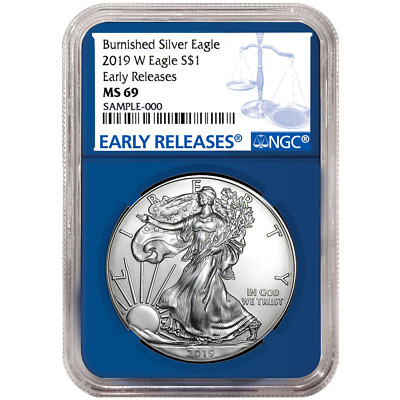 2019-W Burnished $1 American Silver Eagle NGC MS69 Blue ER Blue Core