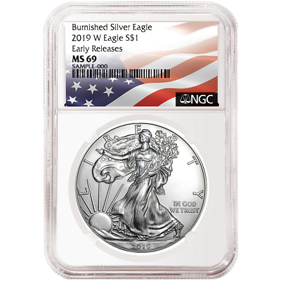 2019-W Burnished $1 American Silver Eagle NGC MS69 Flag ER Label