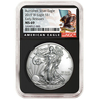 2019-W Burnished $1 American Silver Eagle NGC MS69 Black ER Label Retro Core