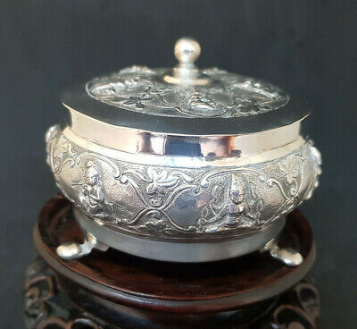 Antique Solid Silver Indian Hindu Gods Box & Lid 139.2 G.
