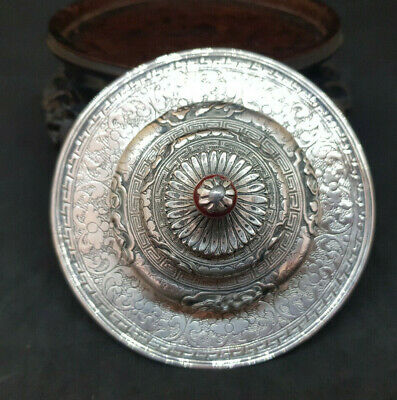Antique Beautiful Chinese Export Solid Silver Lid Glass Cup Cover Anti-Dust
