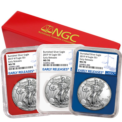 2019-W Burnished $1 American Silver Eagle 3pc. Set NGC MS70 Blue ER Red White Bl