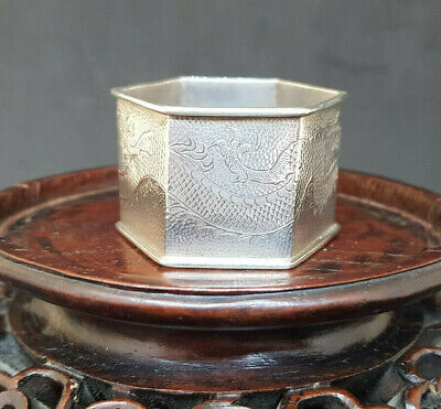 Antique Solid Silver Dargon Chinese Export Napkin Ring