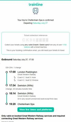 unused train ticket for 2 adults London_Cheltenham  on July 27th