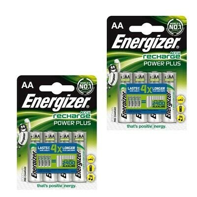 8 x Energizer AA 2000 mAh Rechargeable Power Plus Batteries NiMH HR6 MN1500 RTU