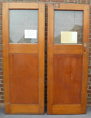 Pair Antique Art Deco Timber Doors with Timber Inserts & Glass (730mm x 2025mm)