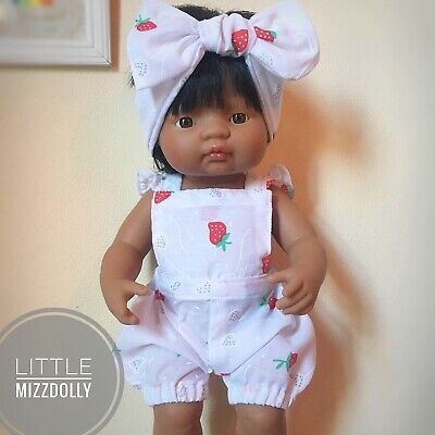 Miniland Doll Clothes -Strawberry Flutter Bubble Romper
