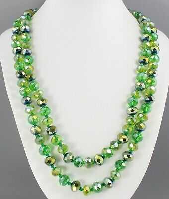 Vintage 70'S Long Shades Of Green Aurora Borealis Ab Crystal Glass Bead Necklace