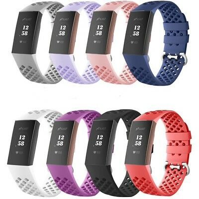 Watch Band For Fitbit Charge 3 Silicone Bracelet Wrist Porous Replacement 8 PCS