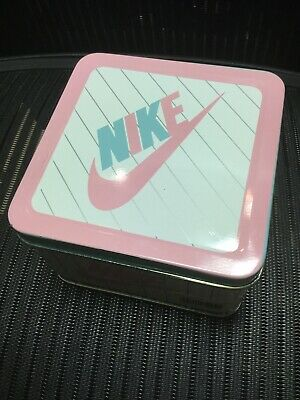 c1f063dca1289 VINTAGE 1990 NIKE Swoosh Tin Baby Shoe Box Pink & Blue Foot Locker with  Shoes