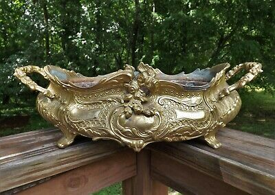 Antique Ornate Solid Brass Planter Handled Footed w/ Insert Large Footed VGC!