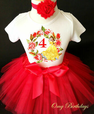 088b4c0ef Princess Belle beauty and the beast Pink 4th Fourth Birthday Tutu Shirt  outfit