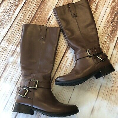 c21c465a Clarks Plaza Steer Brown Leather Boots Women's Size 7.5M Heeled Shoes Gold  Tone