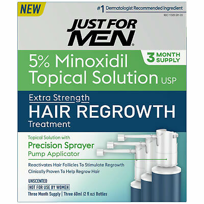 Just For Men Extra Strength Hair Regrowth Treatment 5% Minoxidil 3 Month Supply