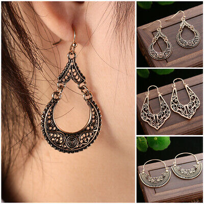 Style Gypsy Ancient Silver Hollow Out Flower Dangle Drop Earring Hoop Ear Studs