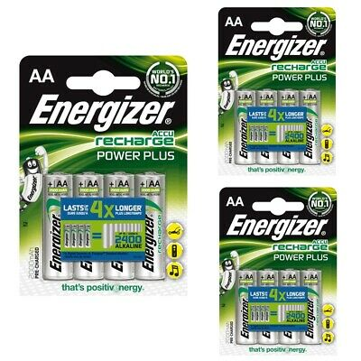 12 x Energizer AA 2000 mAh Rechargeable Power Plus Batteries NiMH HR6 MN1500 RTU