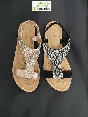 Women/'s Stylish Diamante Cushioned Toe front Holiday Summer Sandals Flat #HL9144