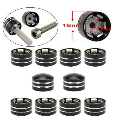 Pack of 10 Motorcycle Bolt Head Cover Schrauben Topper Caps CNC 11.5mm 7//16 for Twin Cam Dyna Softail Touring Road King XL