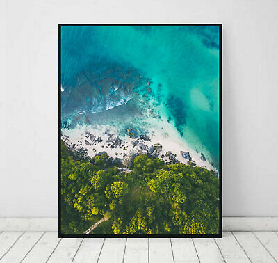 AERIAL BEACH OCEAN ART POSTER PRINT. PERFECT FOR HOME/office DECOR
