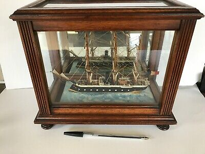 Superb Antique Edwardian Model Ship In A Small Quality Walnut  Display Case
