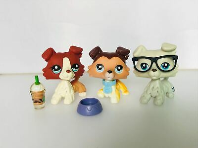 Hasbro Littlest Pet Shop LPS Collie Dog #58 #363 #1542 3PCS With Accessories
