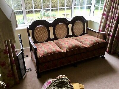 Bergere Suite. 3 Seater Sofa With Two Matching Chairs  Early 1900s