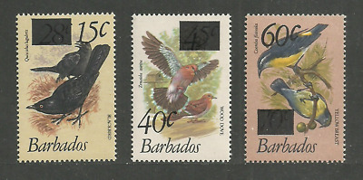 Barbados 1979 Birds Overprint Additions 3 Values Set Mnh