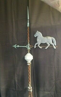 COPPER LIGHTNING ROD w HORSE Weather Vane DIRECTIONAL ARROW