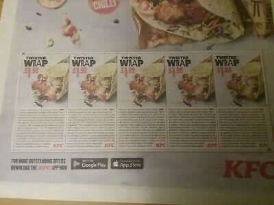KFC  - 5 vouchers  for £1.99 Twister Wraps -  expiry date  27May