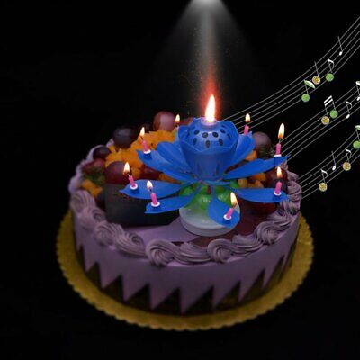 Rotating Lotus Flower Music Birthday Candle Blossom Party Cake Candle  RB